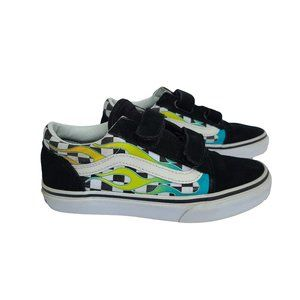 VANS Black Suede with Multi Color Flame 1.5
